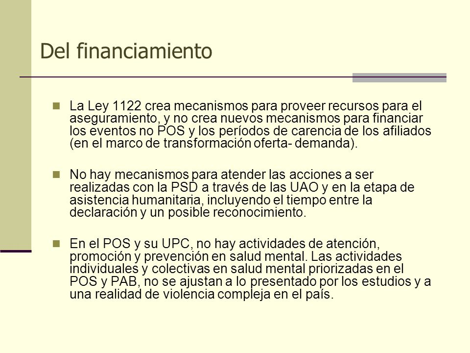 Del financiamiento