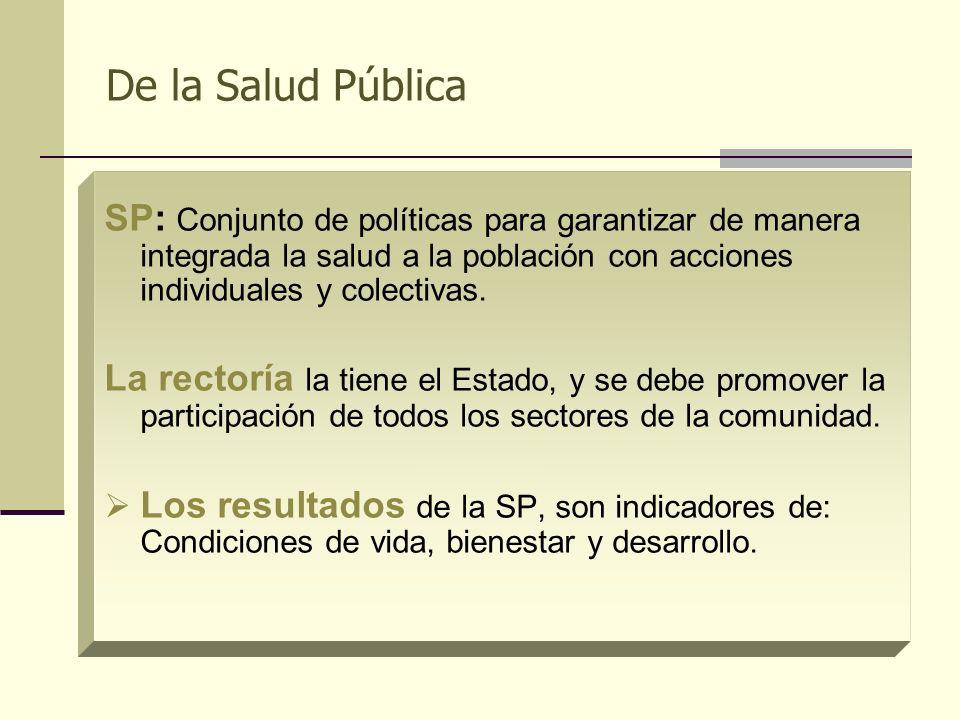 De la Salud PúblicaSP: Conjunto de políticas para garantizar de manera integrada la salud a la población con acciones individuales y colectivas.