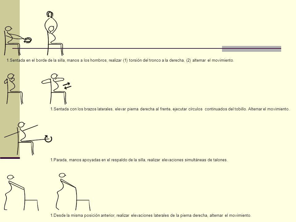 Sentada en el borde de la silla, manos a los hombros, realizar (1) torsión del tronco a la derecha, (2) alternar el movimiento.