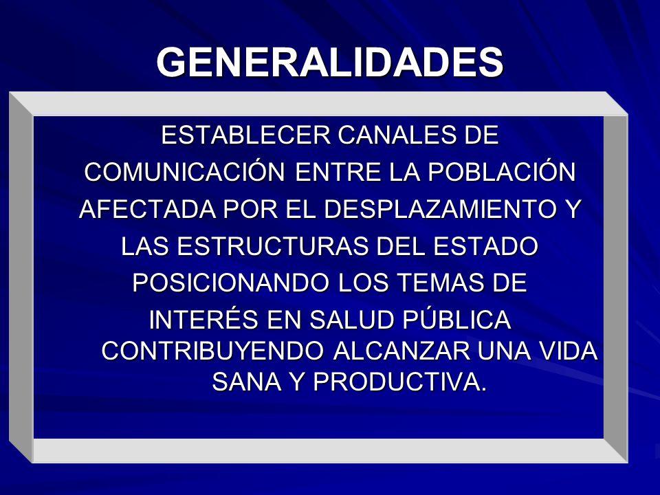 GENERALIDADES ESTABLECER CANALES DE COMUNICACIÓN ENTRE LA POBLACIÓN