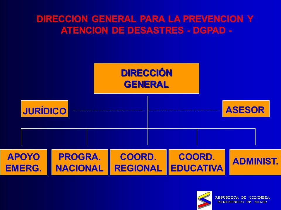 DIRECCION GENERAL PARA LA PREVENCION Y ATENCION DE DESASTRES - DGPAD -