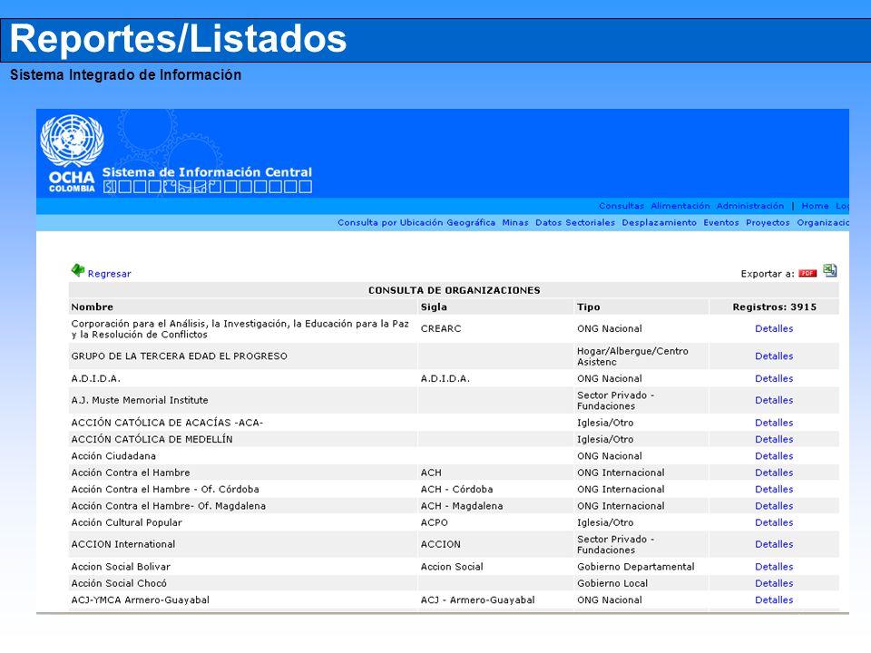 Reportes/Listados Sistema Integrado de Información