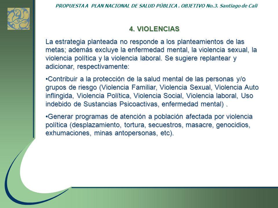 PROPUESTA A PLAN NACIONAL DE SALUD PÚBLICA. OBJETIVO No. 3