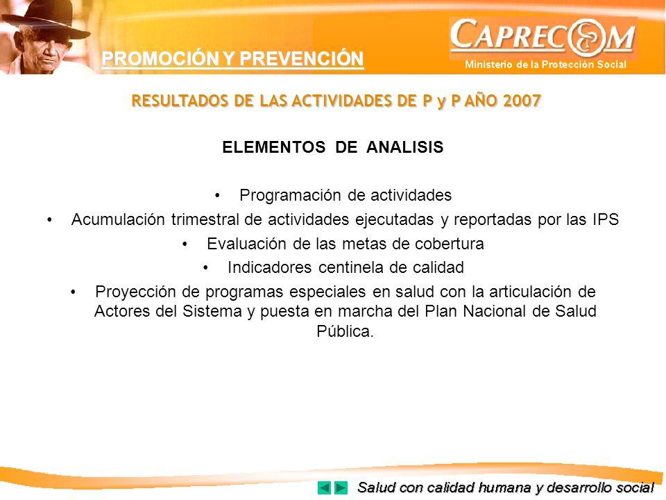 RESULTADOS DE LAS ACTIVIDADES DE P y P AÑO 2007