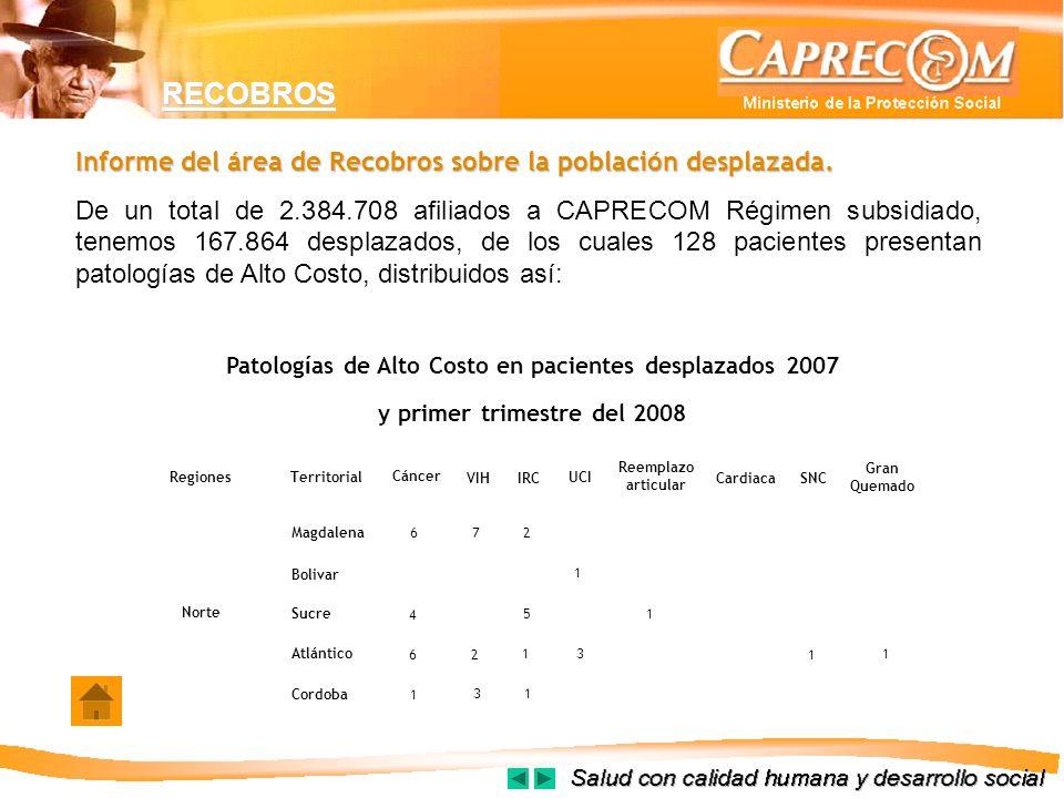 Patologías de Alto Costo en pacientes desplazados 2007