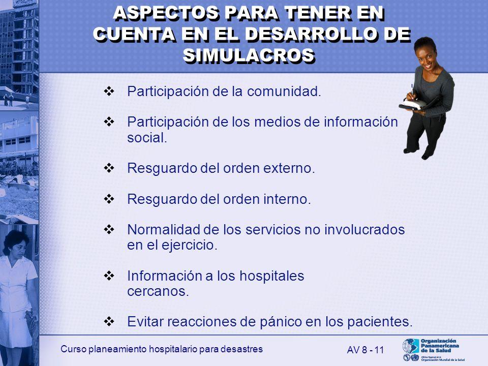 ASPECTOS PARA TENER EN CUENTA EN EL DESARROLLO DE SIMULACROS
