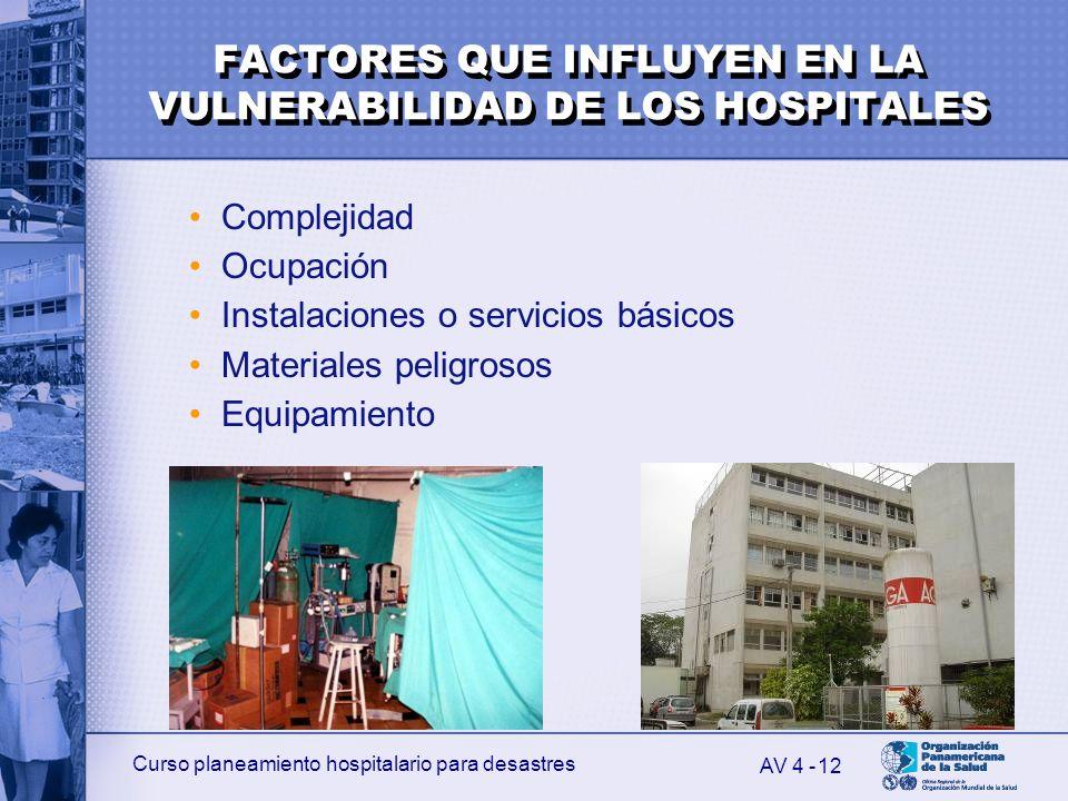 FACTORES QUE INFLUYEN EN LA VULNERABILIDAD DE LOS HOSPITALES
