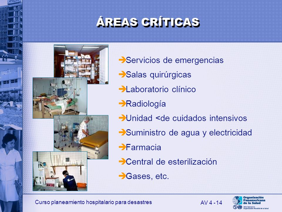 ÁREAS CRÍTICAS Servicios de emergencias Salas quirúrgicas