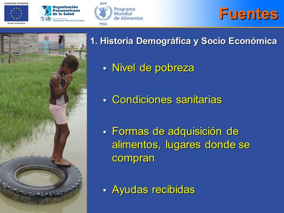 Fuentes Nivel de pobreza Condiciones sanitarias