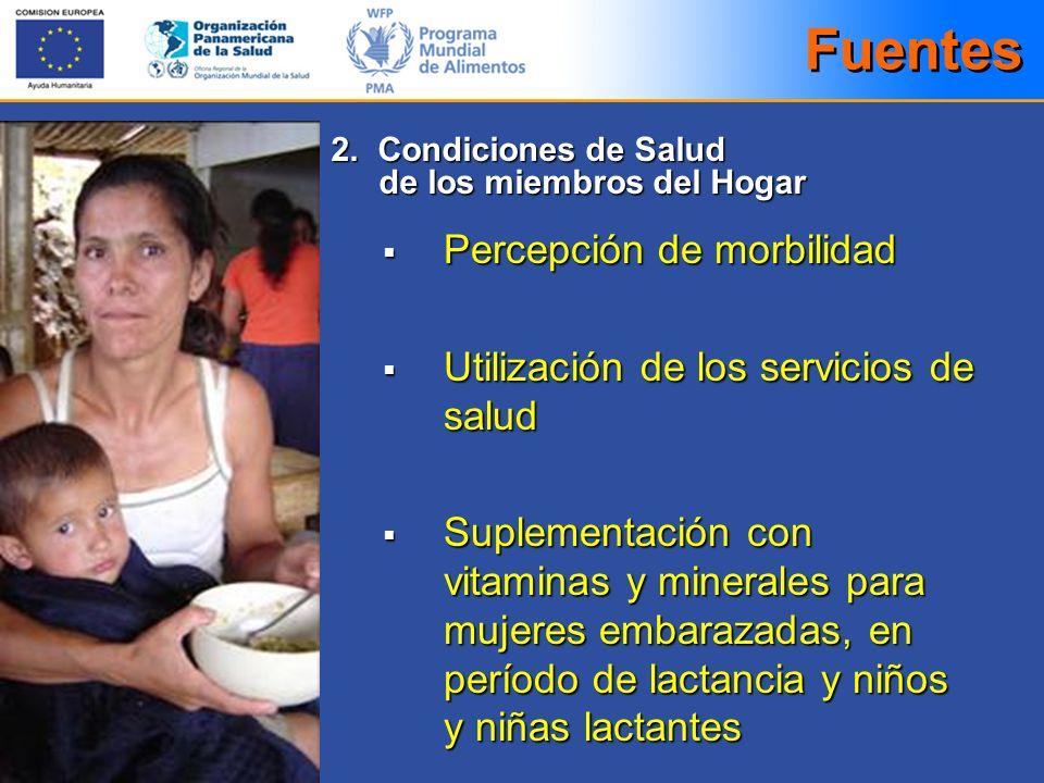 Fuentes Percepción de morbilidad Utilización de los servicios de salud
