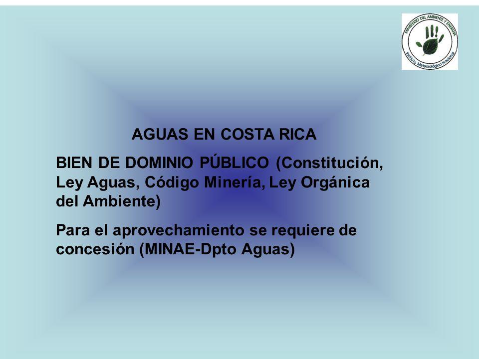 AGUAS EN COSTA RICA BIEN DE DOMINIO PÚBLICO (Constitución, Ley Aguas, Código Minería, Ley Orgánica del Ambiente)