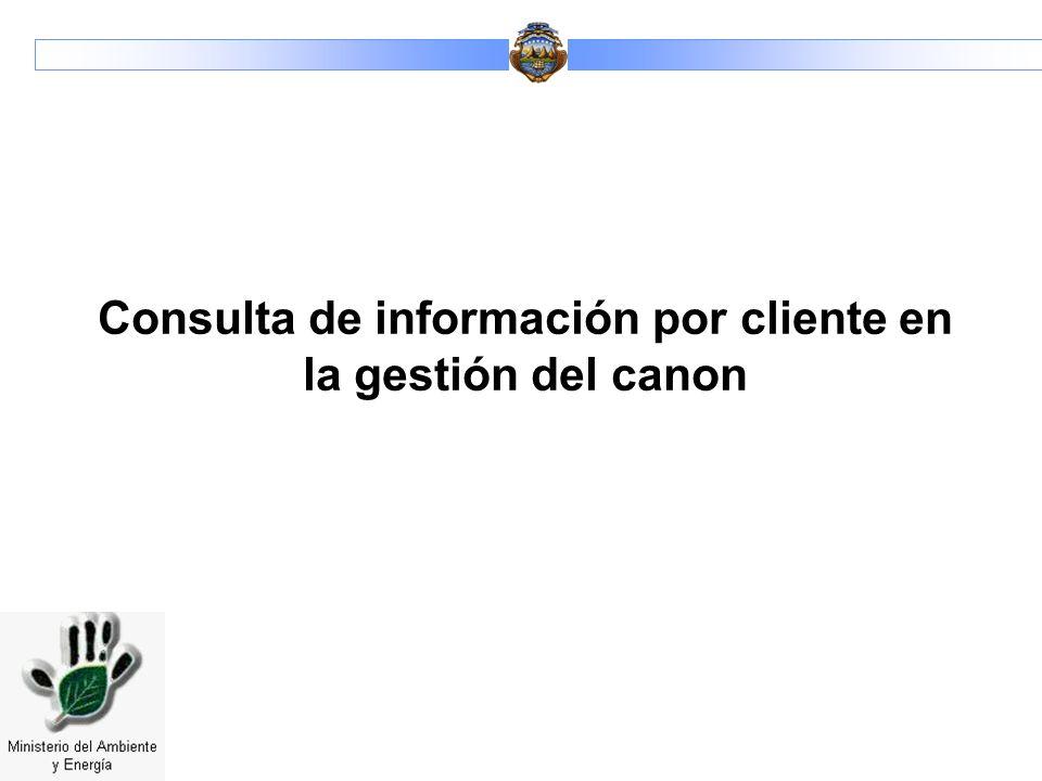 Consulta de información por cliente en la gestión del canon