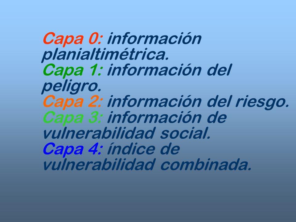 Capa 0: información planialtimétrica. Capa 1: información del peligro