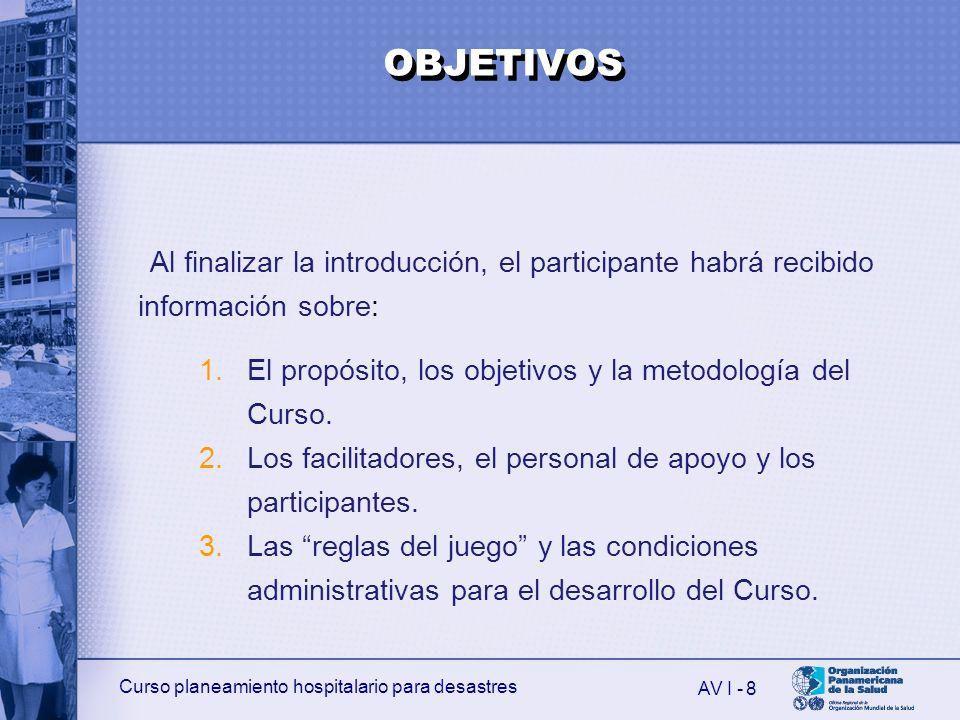 OBJETIVOS Al finalizar la introducción, el participante habrá recibido información sobre: El propósito, los objetivos y la metodología del Curso.