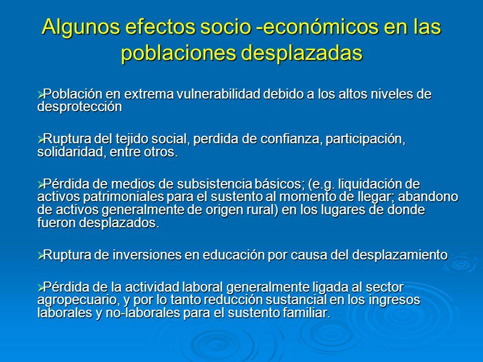 Algunos efectos socio -económicos en las poblaciones desplazadas