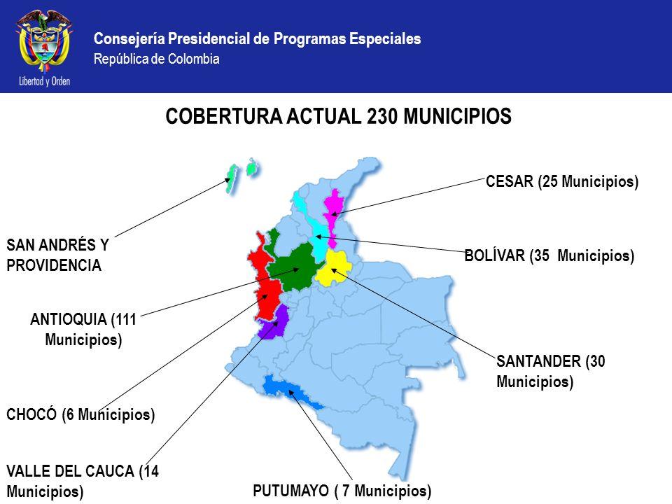 COBERTURA ACTUAL 230 MUNICIPIOS ANTIOQUIA (111 Municipios)
