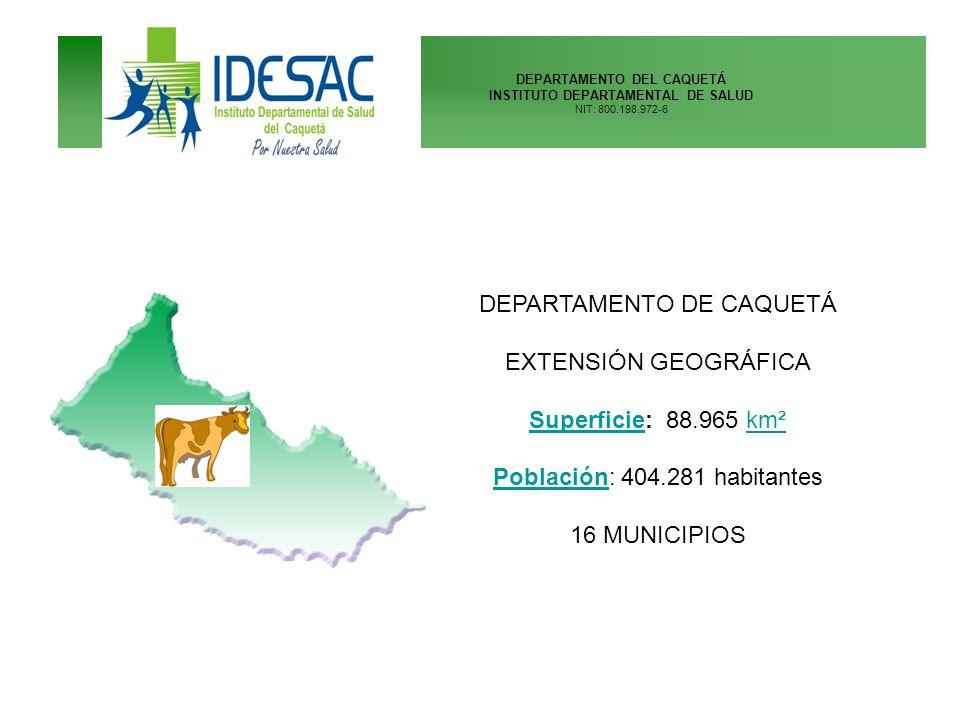 DEPARTAMENTO DE CAQUETÁ EXTENSIÓN GEOGRÁFICA Superficie: 88.965 km²