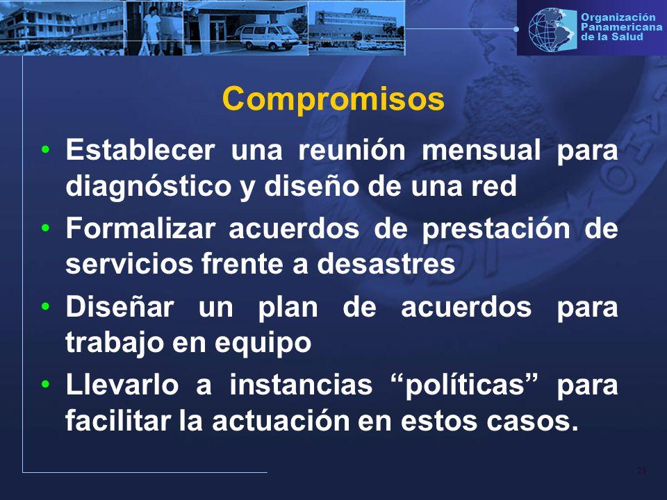 CompromisosEstablecer una reunión mensual para diagnóstico y diseño de una red. Formalizar acuerdos de prestación de servicios frente a desastres.