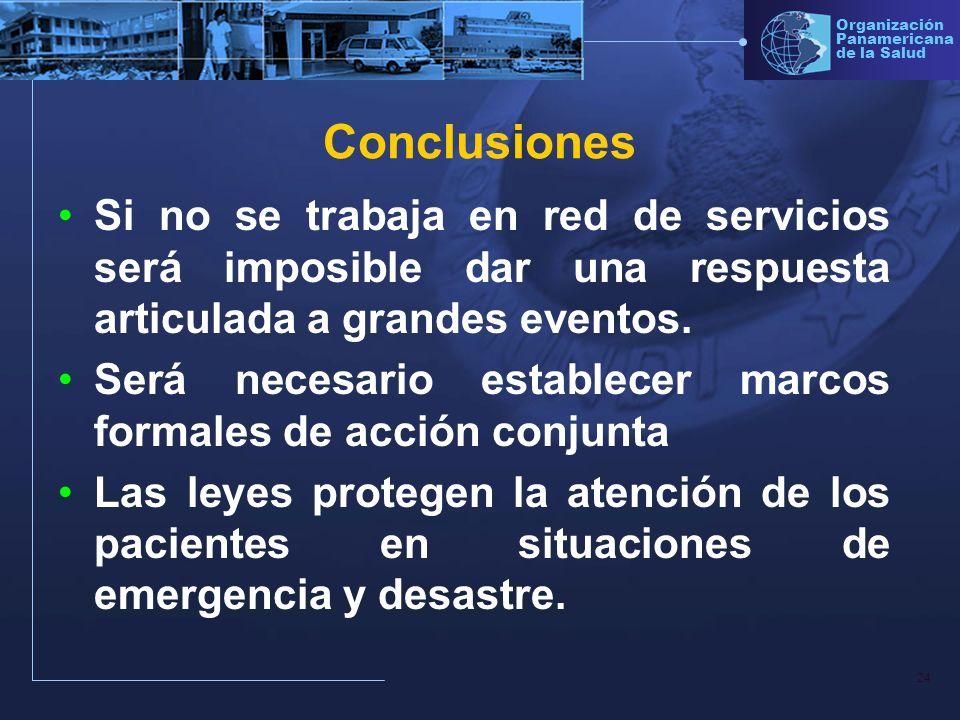 ConclusionesSi no se trabaja en red de servicios será imposible dar una respuesta articulada a grandes eventos.