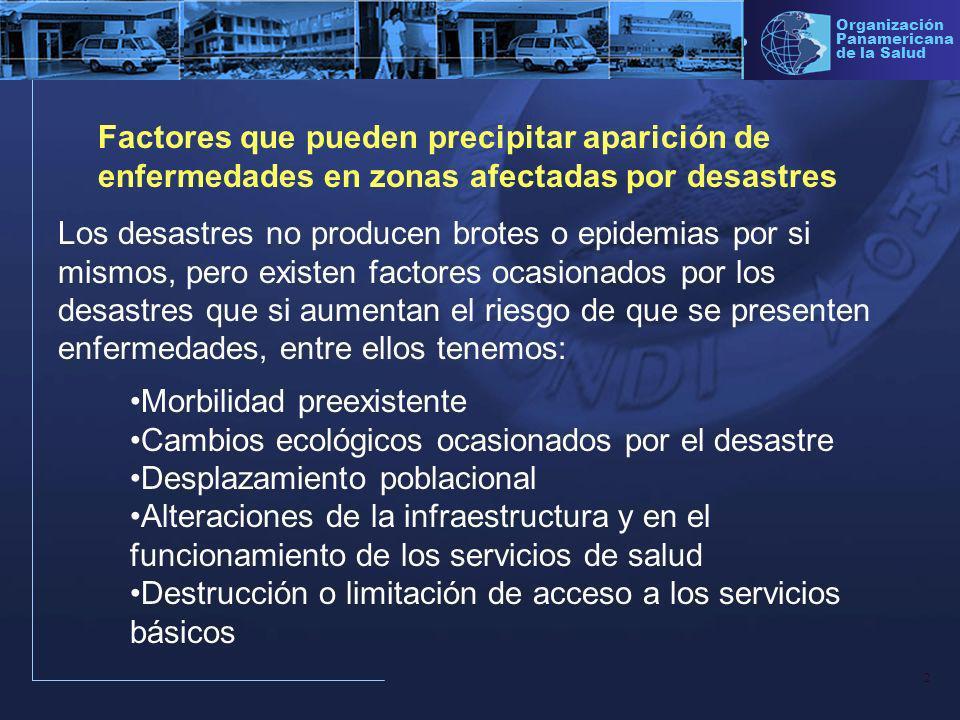Factores que pueden precipitar aparición de enfermedades en zonas afectadas por desastres