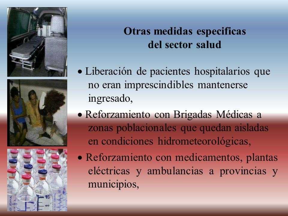 Otras medidas especificas del sector salud