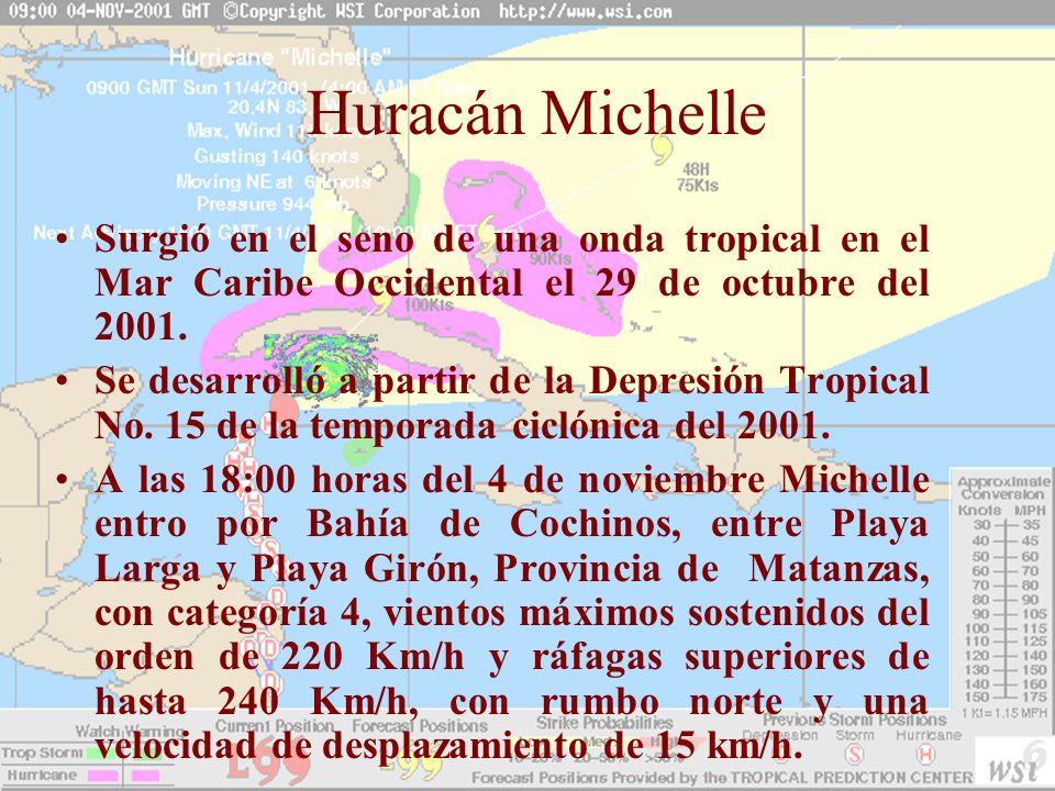 Huracán MichelleSurgió en el seno de una onda tropical en el Mar Caribe Occidental el 29 de octubre del 2001.