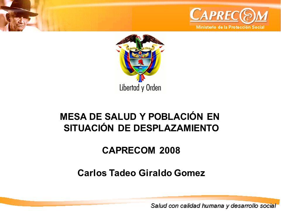 MESA DE SALUD Y POBLACIÓN EN SITUACIÓN DE DESPLAZAMIENTO CAPRECOM 2008