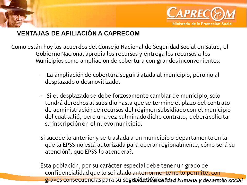 VENTAJAS DE AFILIACIÓN A CAPRECOM