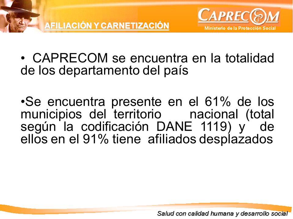CAPRECOM se encuentra en la totalidad de los departamento del país