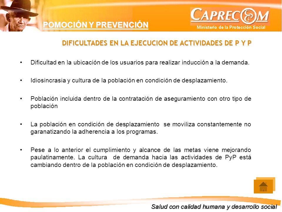 DIFICULTADES EN LA EJECUCION DE ACTIVIDADES DE P Y P