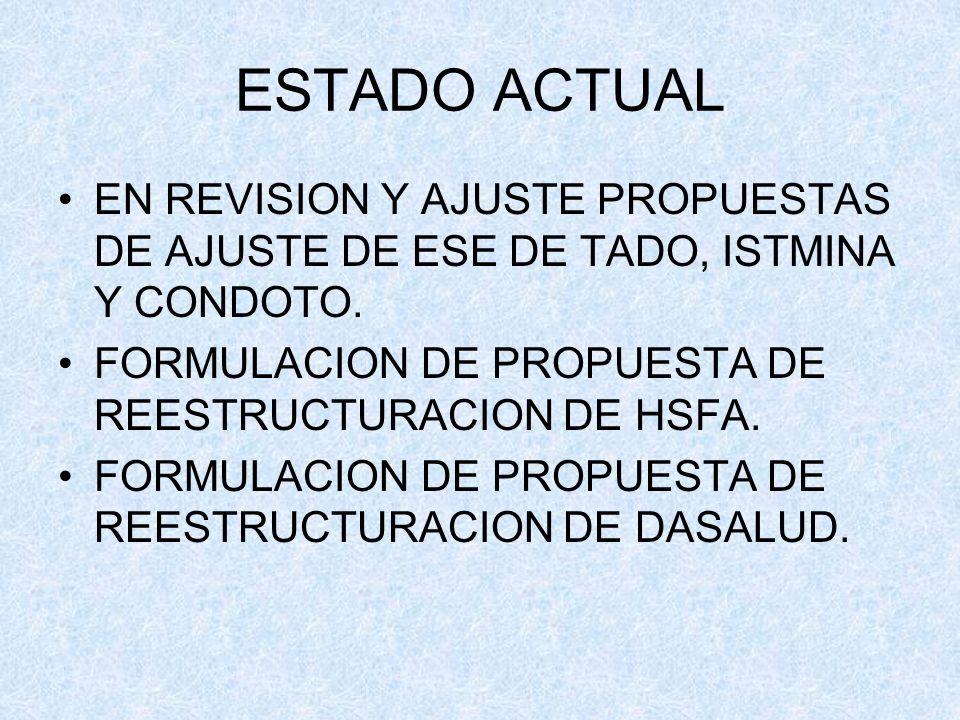 ESTADO ACTUALEN REVISION Y AJUSTE PROPUESTAS DE AJUSTE DE ESE DE TADO, ISTMINA Y CONDOTO. FORMULACION DE PROPUESTA DE REESTRUCTURACION DE HSFA.