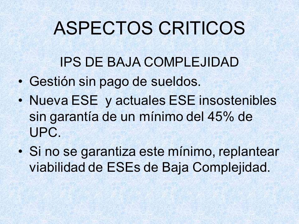 IPS DE BAJA COMPLEJIDAD