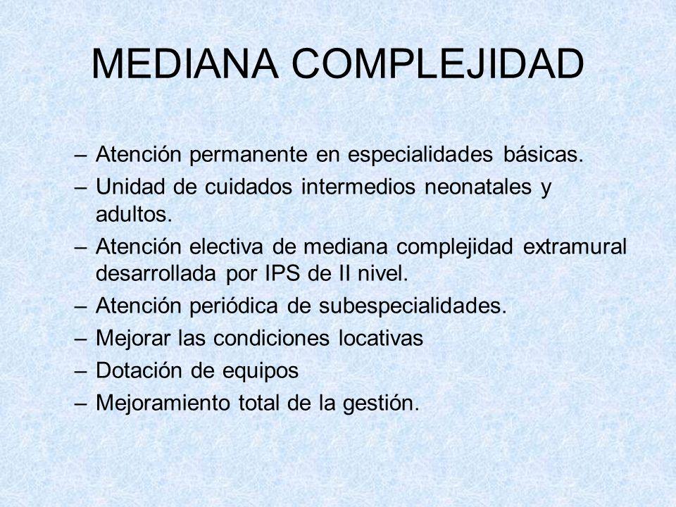 MEDIANA COMPLEJIDAD Atención permanente en especialidades básicas.