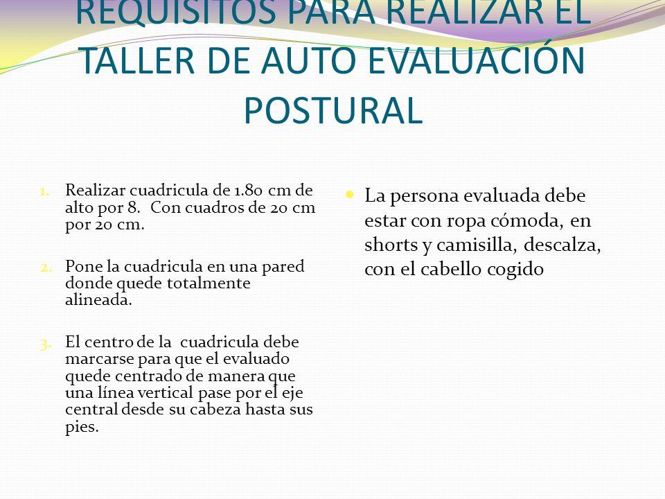 REQUISITOS PARA REALIZAR EL TALLER DE AUTO EVALUACIÓN POSTURAL