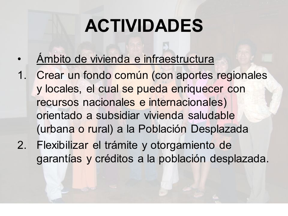 ACTIVIDADES Ámbito de vivienda e infraestructura