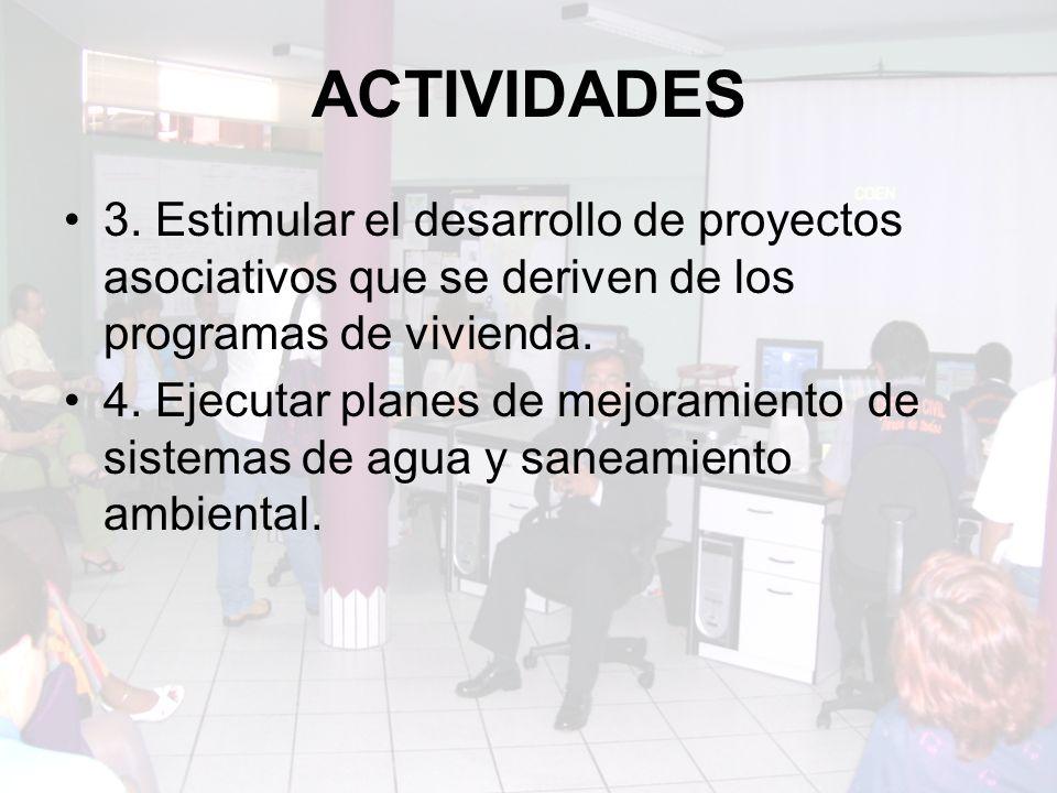 ACTIVIDADES 3. Estimular el desarrollo de proyectos asociativos que se deriven de los programas de vivienda.