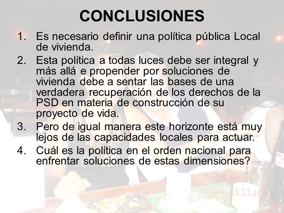 CONCLUSIONES Es necesario definir una política pública Local de vivienda.