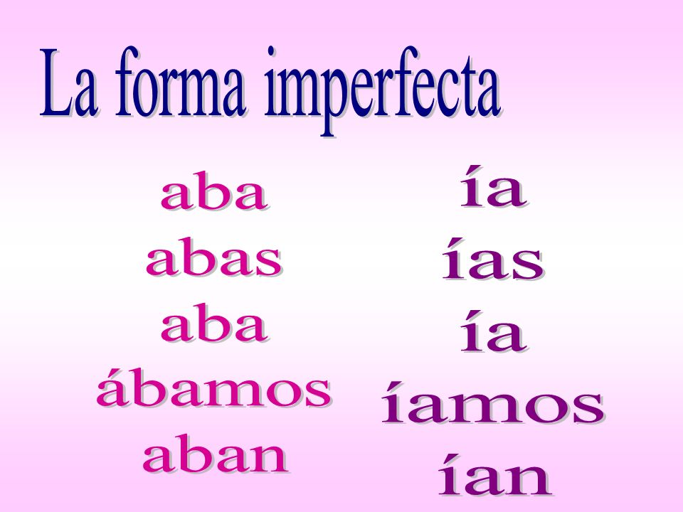 La forma imperfecta ía ías íamos ían aba abas ábamos aban