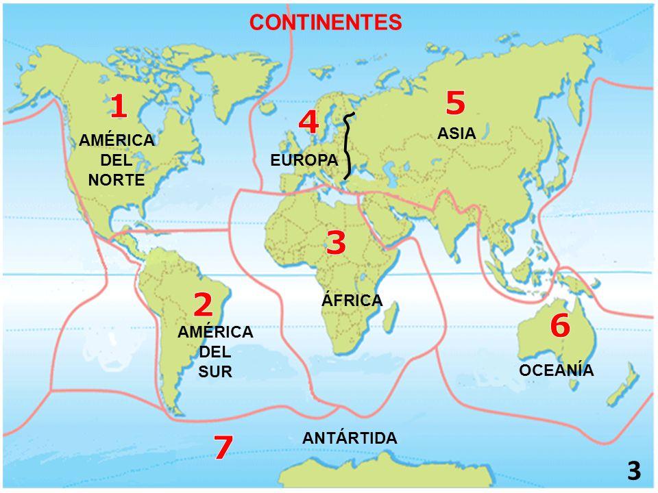 5 1 4 3 2 6 7 CONTINENTES ASIA AMÉRICA DEL EUROPA NORTE ÁFRICA AMÉRICA