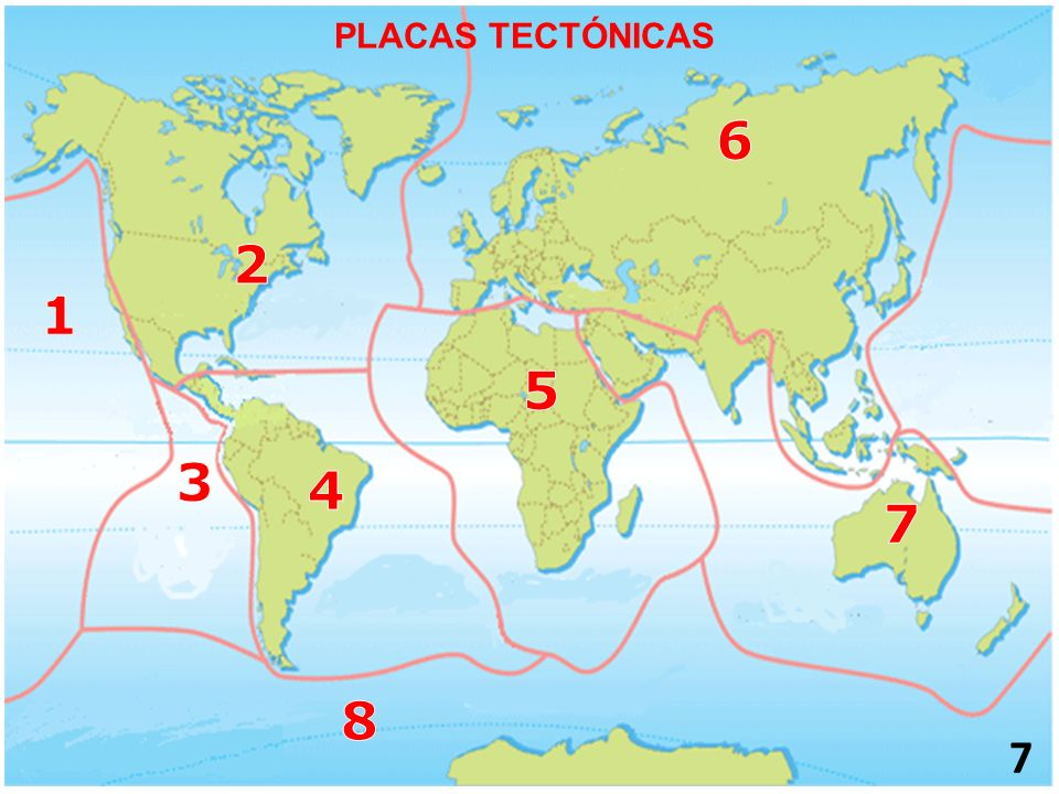 PLACAS TECTÓNICAS 6 2 1 5 3 4 7 8