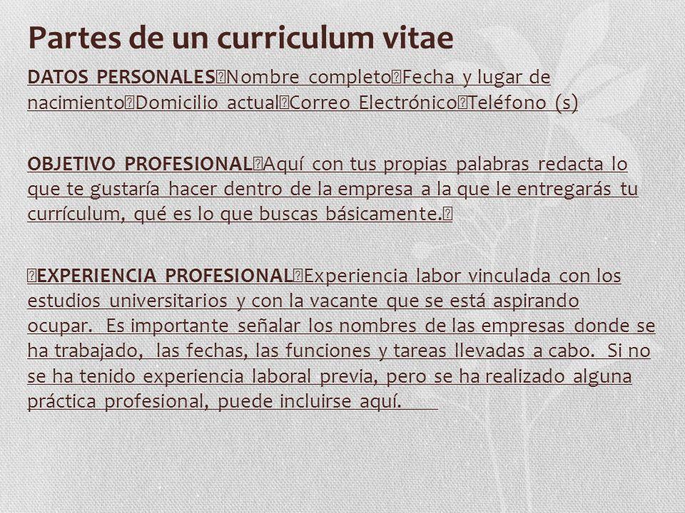 El currículum vitae en español y cómo debe ser elaborado - ppt video ...