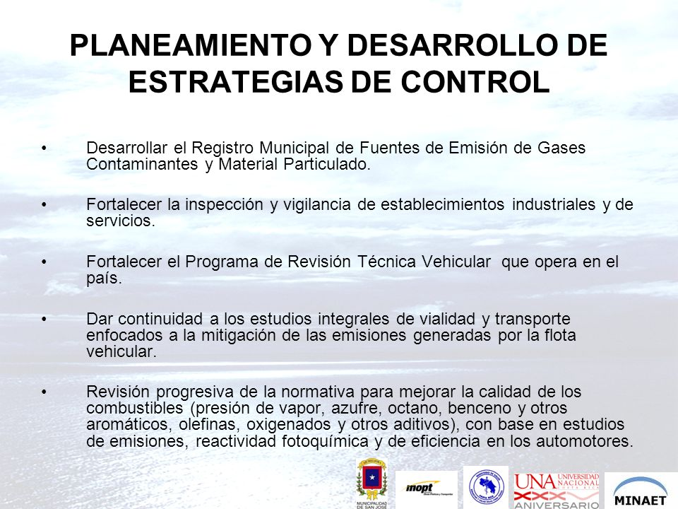 PLANEAMIENTO Y DESARROLLO DE ESTRATEGIAS DE CONTROL