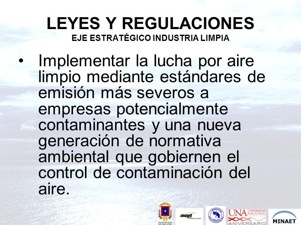 LEYES Y REGULACIONES EJE ESTRATÉGICO INDUSTRIA LIMPIA