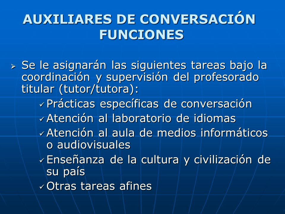 AUXILIARES DE CONVERSACIÓN FUNCIONES