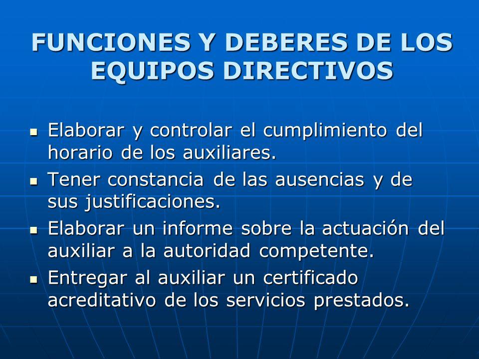 FUNCIONES Y DEBERES DE LOS EQUIPOS DIRECTIVOS