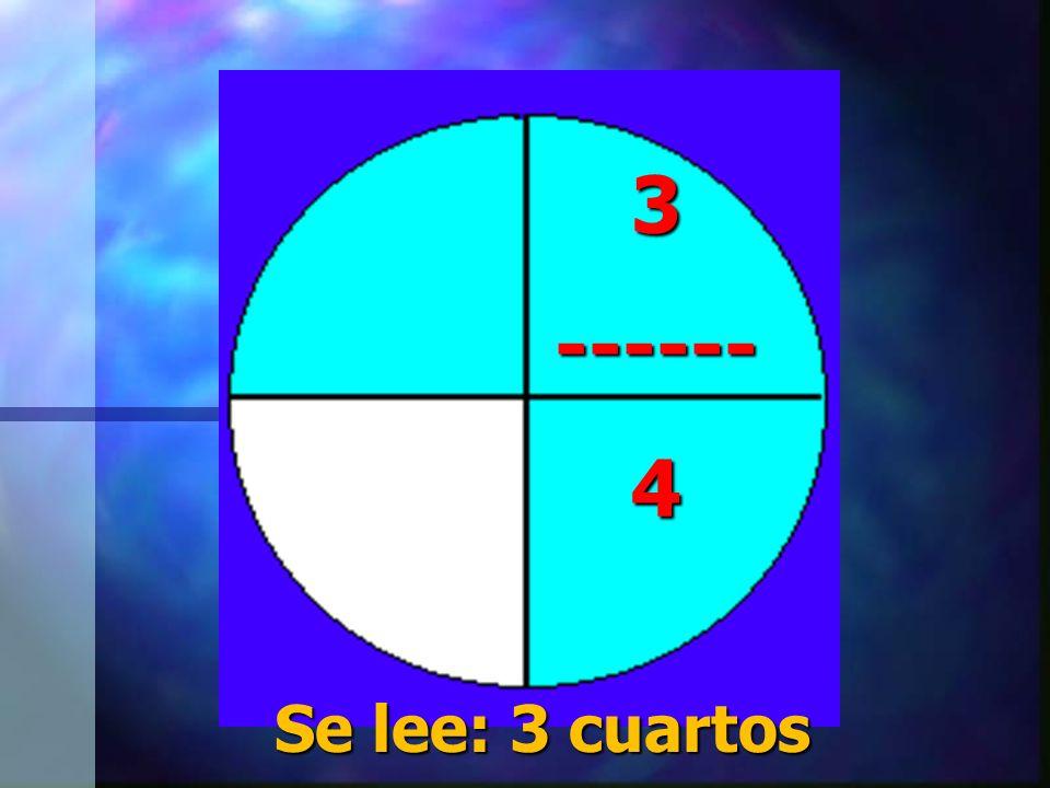 3 ------ 4 Se lee: 3 cuartos