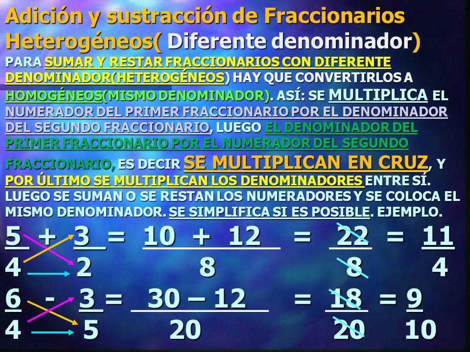 Adición y sustracción de Fraccionarios Heterogéneos( Diferente denominador)