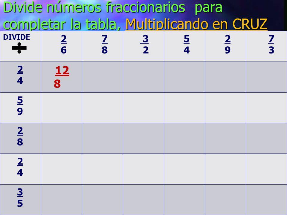 Divide números fraccionarios para completar la tabla, Multiplicando en CRUZ