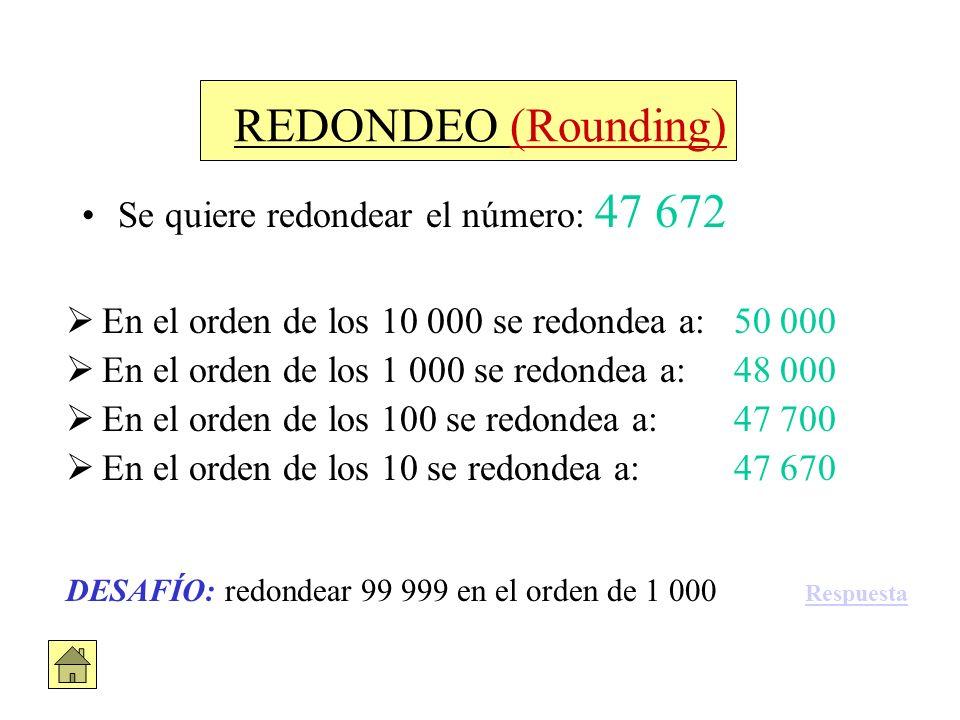 REDONDEO (Rounding) Se quiere redondear el número: 47 672