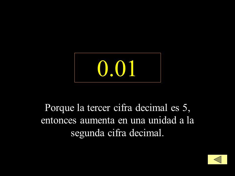 0.01 Porque la tercer cifra decimal es 5, entonces aumenta en una unidad a la segunda cifra decimal.